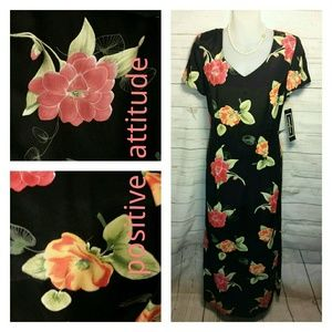 V Neck Lined Dress Flowered Size 12